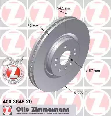 Zimmermann 400.3648.20 - Bremžu diski interparts.lv