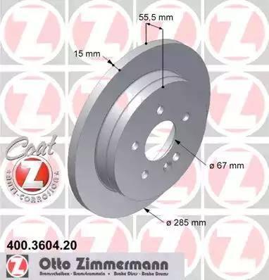 Zimmermann 400.3604.20 - Bremžu diski interparts.lv