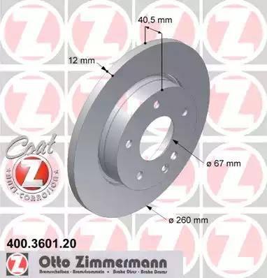 Zimmermann 400.3601.20 - Bremžu diski interparts.lv