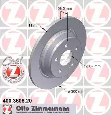 Zimmermann 400.3608.20 - Bremžu diski interparts.lv