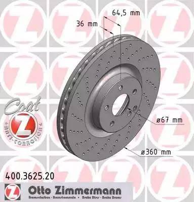 Zimmermann 400.3625.20 - Bremžu diski interparts.lv