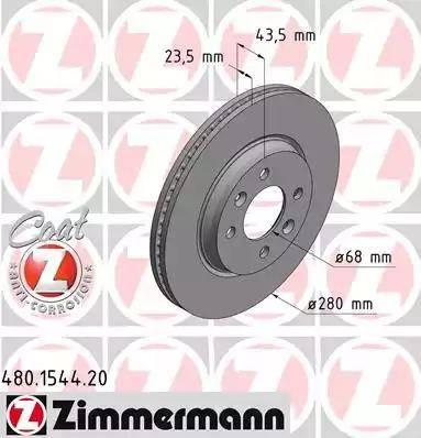 Zimmermann 480.1544.20 - Bremžu diski interparts.lv
