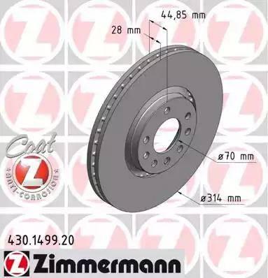 Zimmermann 430.1499.20 - Bremžu diski interparts.lv
