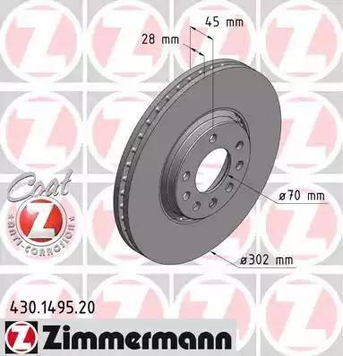 Zimmermann 430.1495.20 - Bremžu diski interparts.lv