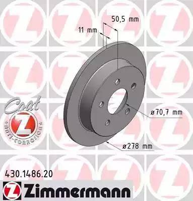 Zimmermann 430.1486.20 - Bremžu diski interparts.lv