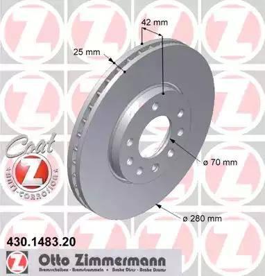 Zimmermann 430.1483.20 - Bremžu diski interparts.lv
