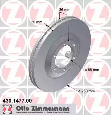 Zimmermann 430.1477.00 - Bremžu diski interparts.lv