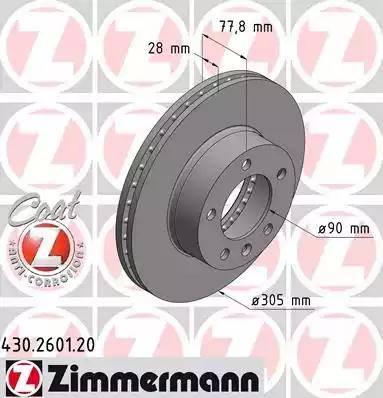 Zimmermann 430.2601.20 - Bremžu diski interparts.lv