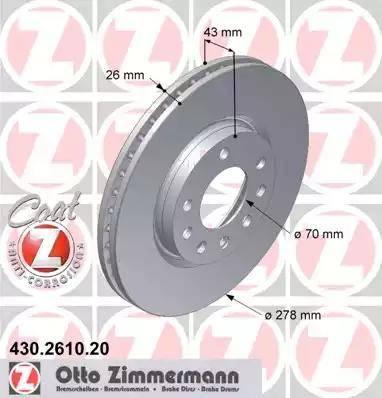 Zimmermann 430.2610.20 - Bremžu diski interparts.lv