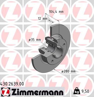 Zimmermann 430.2639.00 - Bremžu diski interparts.lv