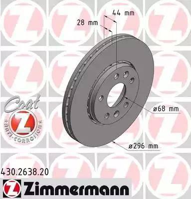 Zimmermann 430.2638.20 - Bremžu diski interparts.lv