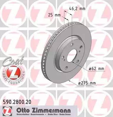 Zimmermann 590.2800.20 - Bremžu diski interparts.lv