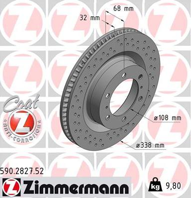 Zimmermann 590.2827.52 - Bremžu diski interparts.lv