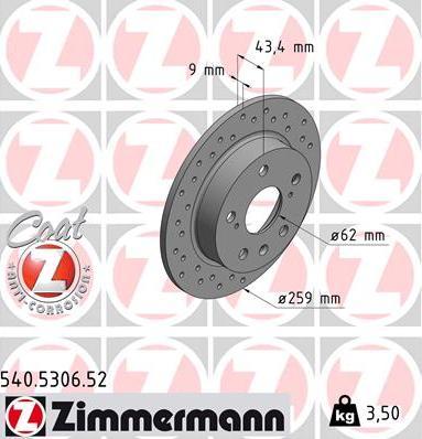 Zimmermann 540.5306.52 - Bremžu diski interparts.lv
