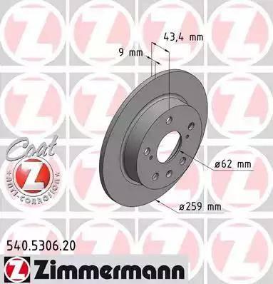 Zimmermann 540.5306.20 - Bremžu diski interparts.lv