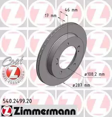Zimmermann 540.2499.20 - Bremžu diski interparts.lv