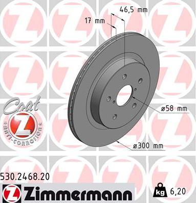 Zimmermann 530.2468.20 - Bremžu diski interparts.lv