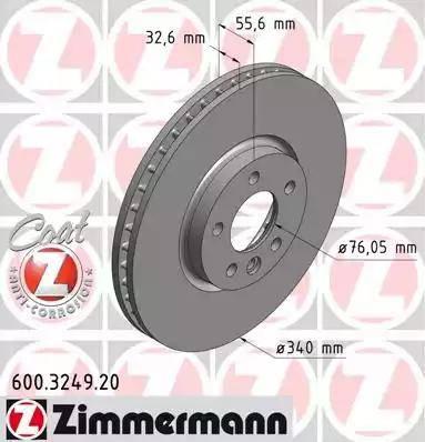 Zimmermann 600.3249.20 - Bremžu diski interparts.lv