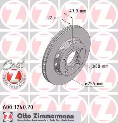 Zimmermann 600.3240.20 - Bremžu diski interparts.lv