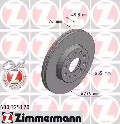 Zimmermann 600.3251.20 - Bremžu diski interparts.lv