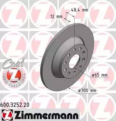 Zimmermann 600.3252.20 - Bremžu diski interparts.lv