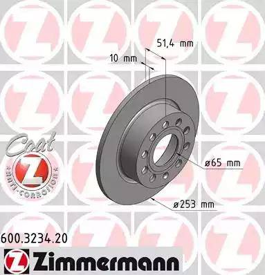 Zimmermann 600.3234.20 - Bremžu diski interparts.lv