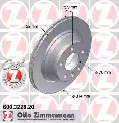Zimmermann 600.3228.20 - Bremžu diski interparts.lv