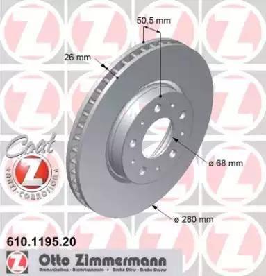Zimmermann 610.1195.20 - Bremžu diski interparts.lv