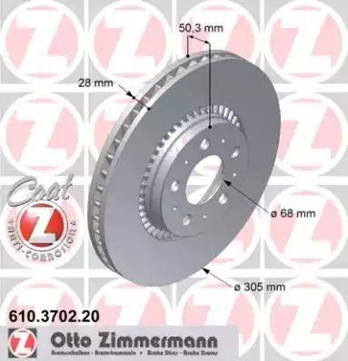 Zimmermann 610.3702.20 - Bremžu diski interparts.lv