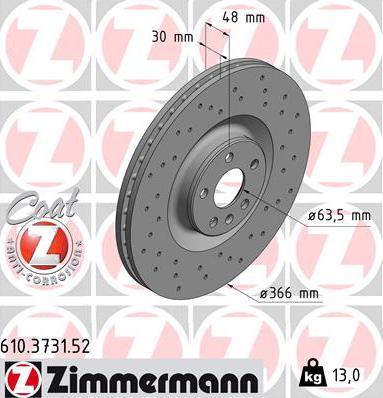 Zimmermann 610.3731.52 - Bremžu diski interparts.lv