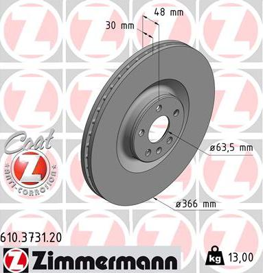 Zimmermann 610.3731.20 - Bremžu diski interparts.lv