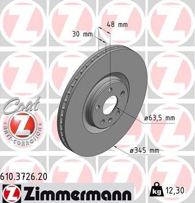 Zimmermann 610.3726.20 - Bremžu diski interparts.lv