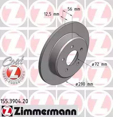 Zimmermann 155.3904.20 - Bremžu diski interparts.lv