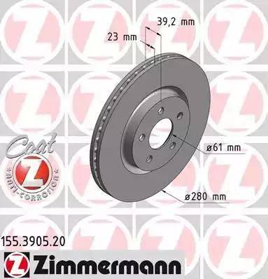 Zimmermann 155.3905.20 - Bremžu diski interparts.lv