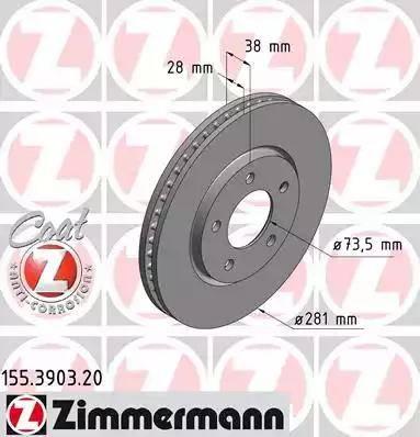 Zimmermann 155.3903.20 - Bremžu diski interparts.lv