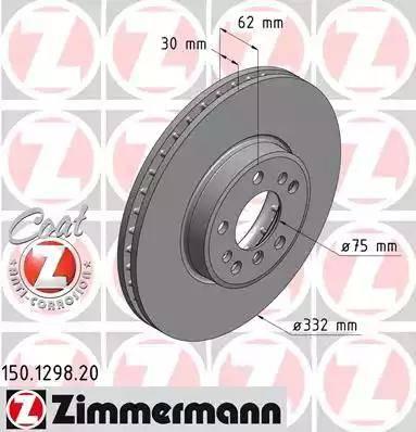 Zimmermann 150.1298.20 - Bremžu diski interparts.lv