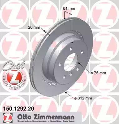 Zimmermann 150.1292.20 - Bremžu diski interparts.lv
