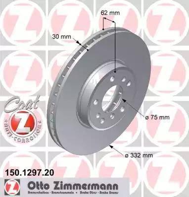 Zimmermann 150.1297.20 - Bremžu diski interparts.lv