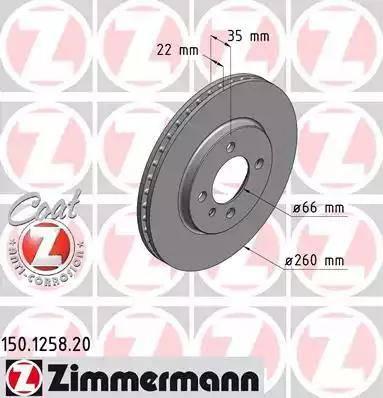 Zimmermann 150.1258.20 - Bremžu diski interparts.lv
