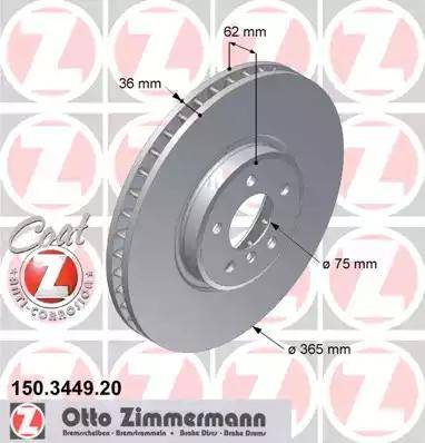 Zimmermann 150.3449.20 - Bremžu diski interparts.lv
