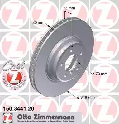 Zimmermann 150.3441.20 - Bremžu diski interparts.lv