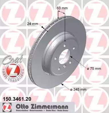 Zimmermann 150.3461.20 - Bremžu diski interparts.lv