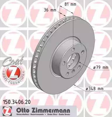 Zimmermann 150.3406.20 - Bremžu diski interparts.lv
