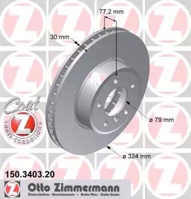 Zimmermann 150.3403.20 - Bremžu diski interparts.lv