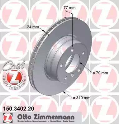 Zimmermann 150.3402.20 - Bremžu diski interparts.lv
