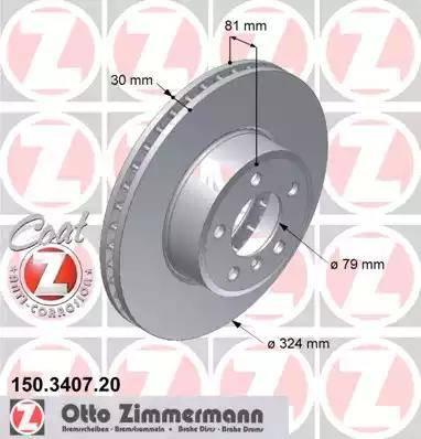 Zimmermann 150.3407.20 - Bremžu diski interparts.lv