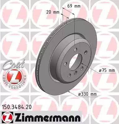 Zimmermann 150.3484.20 - Bremžu diski interparts.lv