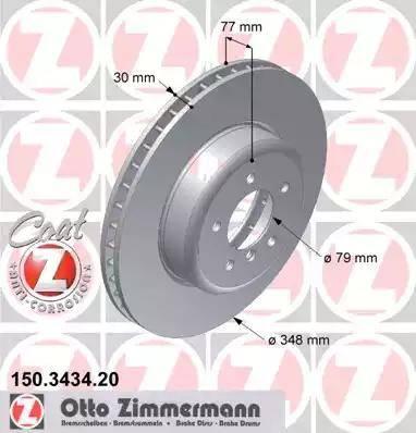 Zimmermann 150.3434.20 - Bremžu diski interparts.lv