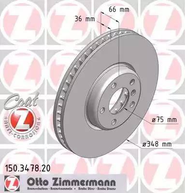 Zimmermann 150.3478.20 - Bremžu diski interparts.lv