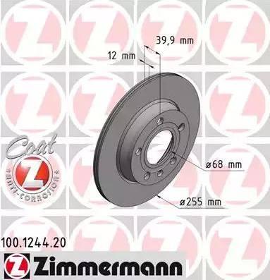 Zimmermann 100.1244.20 - Bremžu diski interparts.lv